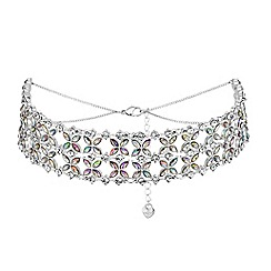 Lipsy - Floral crystal choker necklace