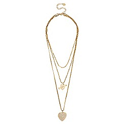 Lipsy - Gold pearl heart multi row necklace
