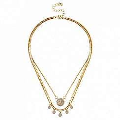 Lipsy - Gold pave charm multi row necklace