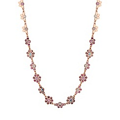 Lipsy - Rose Gold Plated Pink Floral Allway Necklace