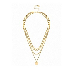 Lipsy - Gold plated gold heart multi-row necklace