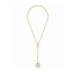 Lipsy - Mixed plate clear disc link lariat necklace