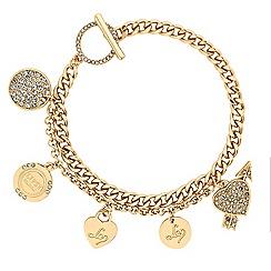 Lipsy - Gold crystal disc charm bracelet