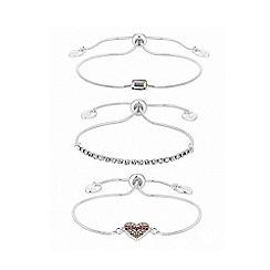 Lipsy - Rainbow pave heart and bar toggle bracelet