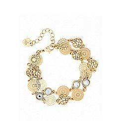 Lipsy - Gold filagree 2 row bracelet