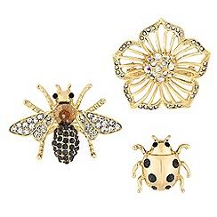 Mood - Crystal bee brooch set