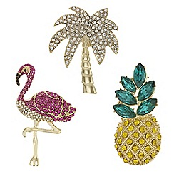 Mood - Crystal tropical brooch set