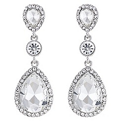 Mood - Silver crystal peardrop earrings