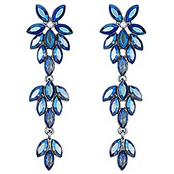 Mood - Blue crystal floral drop earrings