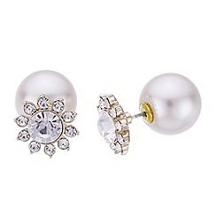 Mood - Floral pearl front and back earrings