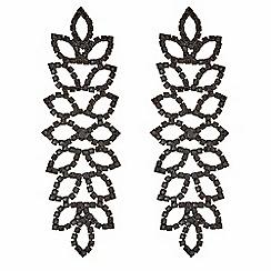 Mood - Diamante leaf earrings