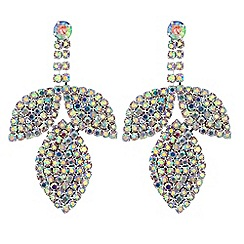 Mood - Diamante leaf drop earrings