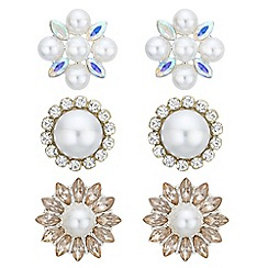 Mood - Pearl and crystal earrings set