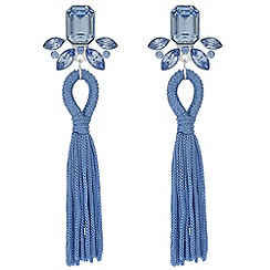 Mood - Blue crystal tassel earrings