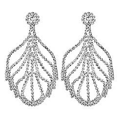 Mood - Diamante leaf drop earrings