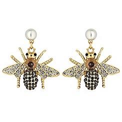 Mood - Crystal bee drop earrings