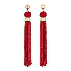 Mood - Red beaded tassel earrings