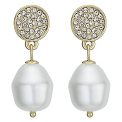Mood - Pave disc and pearl earrings