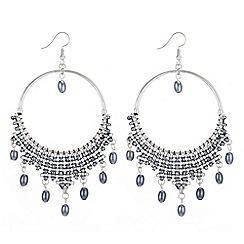 Mood - Beaded drop hoop earrings