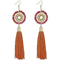 Mood - Beaded disc and tassel earrings