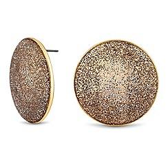 Mood - Gold glitter disc stud earrings