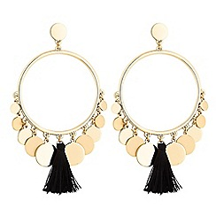 Mood - Tassel and disc hoop earrings