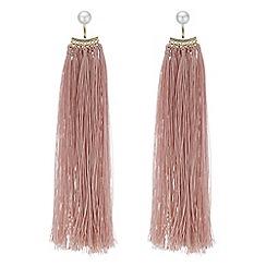 Mood - Pink tassel drop earrings