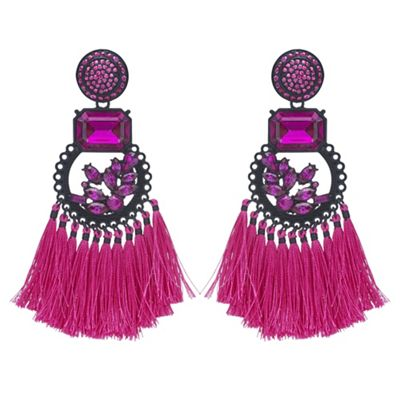 Mood   Crystal Tassel Statement Earrings by Mood