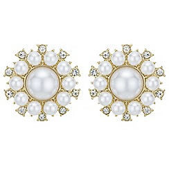 Mood - Pearl flower stud earrings