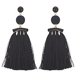 Mood - Jet tassel drop earrings