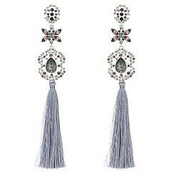 Mood - Crystal floral tassel drop earrings