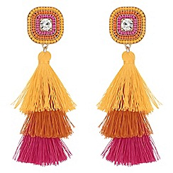 Mood - Beaded layered tassel earrings