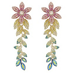 Mood - Multi colour pave floral drop earrings