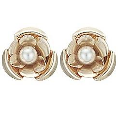 Mood - Pearl flower stud earrings