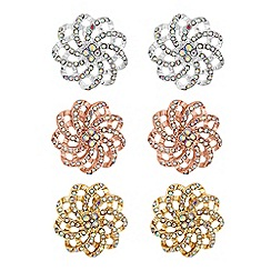 Mood - Crystal pave floral earrings set