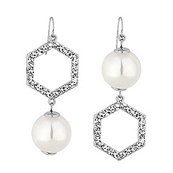 Mood - Silver crystal hexagon and pearl mismatched drop earings