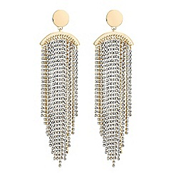 Mood - Gold diamante tassel statement earrings