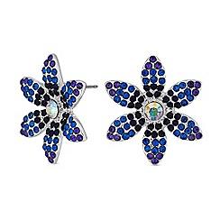Mood - Silver blue crystal floral stud earrings
