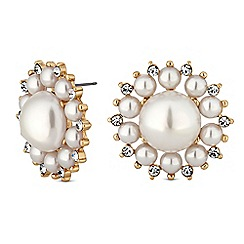 Mood - Gold pearl floral stud earings