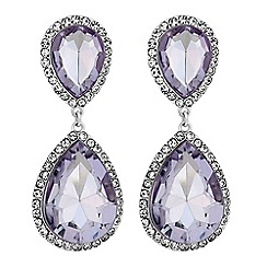 Mood - Silver purple crystal oversized peardrop stud earings