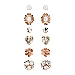 Mood - Rose gold crystal and pearl earings set