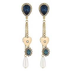Mood - Gold blue crystal charm drop earings