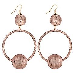 Mood - Rose gold threaded orb hoop earings