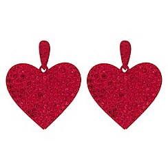 Mood - Red crystal embellished oversized heart drop earrings