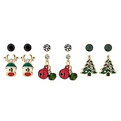 Mood - Gold crystal christmas stud earrings set
