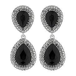 Mood - Silver black crystal peardrop earrings