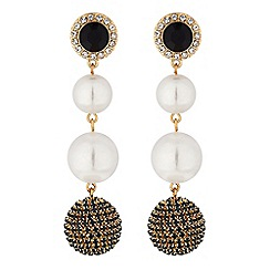 Mood - Gold crystal orb and pearl drop earring