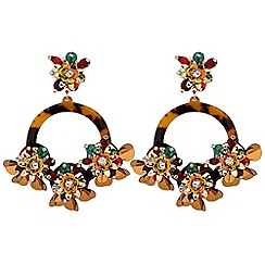 Mood - 3 sequin flower layered hoop drop earrings