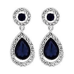 Mood - Silver plated blue halo teardrop drop earrings