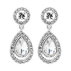 Mood - Silver plated clear halo teardrop drop earrings